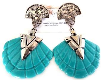 Bohemian Earrings - Mermaid Earrings - Long Earrings - Boho Earrings - Shell Earrings - Resin Earrings - Turquoise Earrings - Gift for her