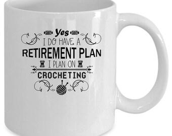 Crochet white coffee mug. Funny Crochet gift