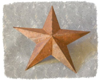 Barn Star, Rusty Tin Barn Star, Metal Barn Star, Primitive Star, Craft Supplies