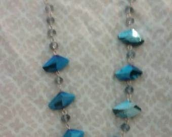 Necklace Royale Blue Beads on silver Chain