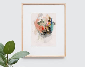 Abstract art composition - Contemporary art - Watercolor Print - Limited edition. Landscape III.