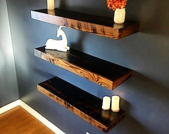 "Barnwood Floating shelves - 42"" Floating shelf - Rustic shelves - Dispaly shelves - 42""x10""x3"" - (Price is for one shelf)"