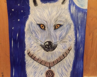 Acrylic painted full moon Wolf