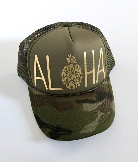 Aloha Trucker Hat| Aloha Hat| Proceeds to Charity| Hawaii Hat|Pineapple | Trucker Hat|Beach Hat|Camouflage | Camo-Gold Vinyl Print