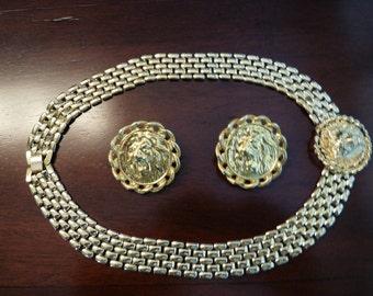 Vintage Anne Klein Lion Head Choker and Earrings