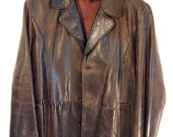 Oscar Leopold Vintage Leather Jacket, brown, size Large