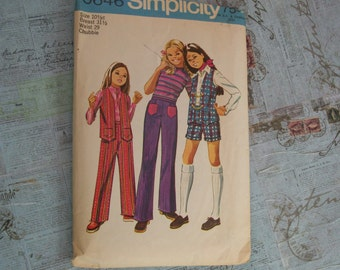 Vintage 1971 Simplicity Printed Pattern Girls Pattern – 9646-  Size 10 1/2 (Chubbies)