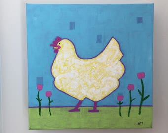 "8""x8"" acrylic hen painting on canvas - ""Lenore""."