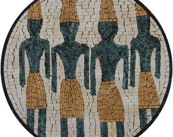 Round Phoenician Handmade Oriental Motif Wall Decor Marble Mosaic FG1119