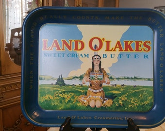 Vintage Kitchen Land O' Lakes Butter Metal Serving Tray, Land O' Lakes Sweet Cream Butter Advertising Metal Tray Indian Maiden, beverage