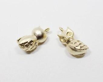 P0521/Anti-Tarnished Matte Gold Plating Over Brass/Owl Charm Pendant/8x13mm/2pcs