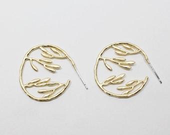 E0110/Anti-Tarnished Matt Gold Plating Over Brass/Large Branch Stud Earrings/22x22mm/2pcs