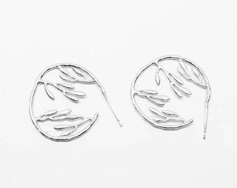 E0110/Anti-Tarnished Matt Rhodium Plating Over Brass/Large Branch Stud Earrings/22x22mm/2pcs