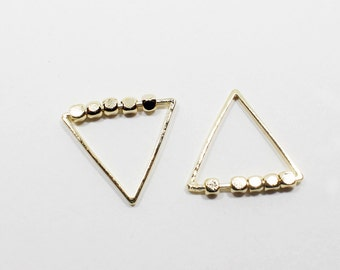 P0558/Anti-Tarnished Gold Plating Over Brass/Triangle Charm Pendant/15x15mm/4pcs