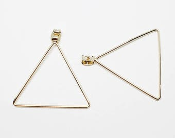 E0146/Anti-Tarnished Gold Plating Over Pewter/35mm Large Triangle Earring Back Clutch/35mm/2pcs