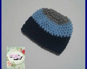 0-3m handmade hat, warm, winter, beanie, boy, grey, baby blue, navy blue, striped, stripes, crochet, baby hat, 0-3m size, baby gift, RTS