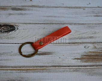 Red Minimalist Leather Keychain - Antique Brass Accented Leather Key Chain - Slim Leather Keychain
