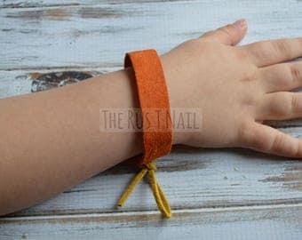 FREE SHIPPING - Children's Suede Friendship Bracelet - Burnt Orange - Children's Leather Bracelet
