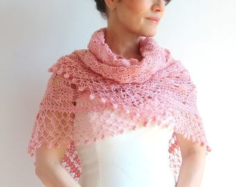 On sale, crochet pink shawl, dusty pink shawl wrap, bridal shawl,lacy pink shawl, cover up, wedding wrap, gift, fast shipping, ready to ship