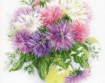 Cross Stitch Kit by Riolis - Asters; Flowers cross stitch; Mother's Day gift; Wall decor; Pastimes; Craft hobby; Flowers embroidery