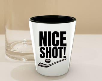 Ice Hockey Stick, Puck Gift Shot Glass! 'Nice Shot' Shot Glasses with Stick and Puck Illustration  // By Mark Bernard - sketchnkustom!