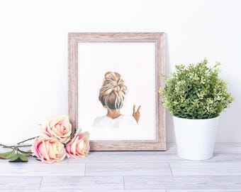 Illustration print art hair style peace sign blonde girl home decor drawing teenage child gift