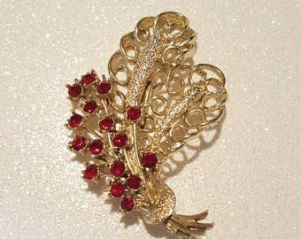 Vintage Red Rhinestone Goldtone  Leaf/ Flower Pin Brooch