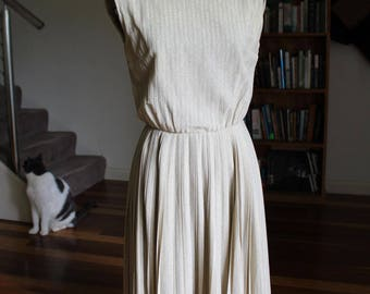 60's Gold Lurex dress with pleated skirt by Jeane Scott by Margot Inc