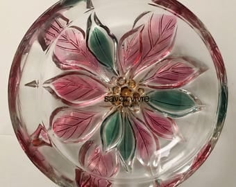 Savoir Vivre Crystal Holiday Spirit Pink Poinsettia Floral Oval Glass Candy Dish - Made in Japan