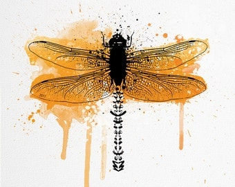 Orange Dragonfly Artwork/Watercolour Illustration | Picture of dragonfly in complete metamorphosis | Contemporary art A4 size
