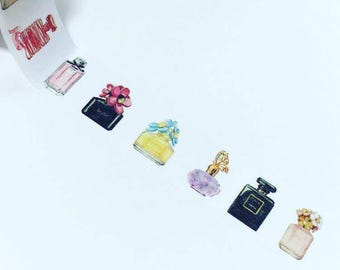 Perfume washi tape, perfume bottle washi, fashion washi tape, perfume washi, perfume bottles washi