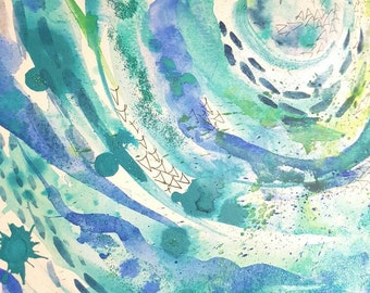 Ocean inspired abstract full of life and tranquillity. Original A3 painting.