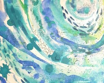 Ocean. Original A3 painting.