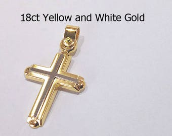 18ct 750 Two Tone White and Yellow Gold Crucifix Cross Pendant - EJD26