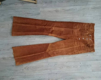 Vintage 70s Handmade Leather Bellbottoms