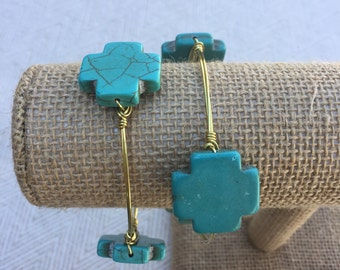 Turquoise Cross Wire-Wrapped Bangle Bracelet
