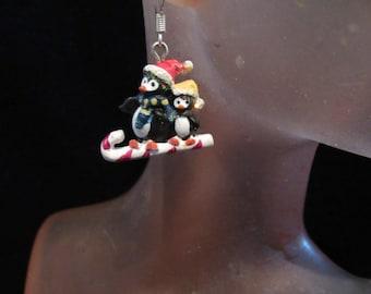 Vintage Pair Of Christmas Ceramic Penguin Pierced Dangle Earrings