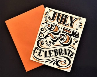orange black and white hand lettered customized birthday card