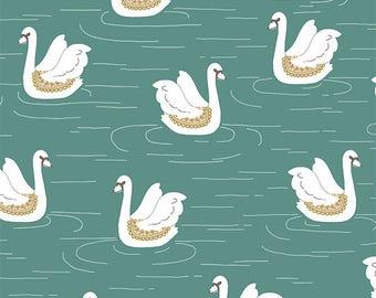 Swan Lake in Agate - fitted sheet, changing mat, Flowers, custom nursery