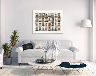 Print: Windows of the World - Barcelona, Spain - With White Margin
