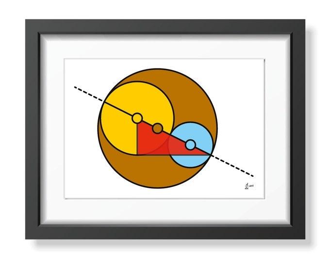 Golden Ratio Circles 06 [mathematical abstract art print, unframed] A4/A3 sizes