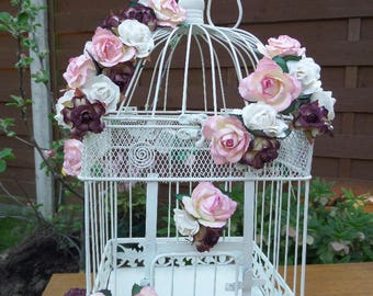 "Wedding Birdcage, Reception Card Holder, Suitable for Wishes & Advice, Holds 200, Pink, White, Burgundy, Ivory Paper Flowers, 17.5"" x 9.5"""
