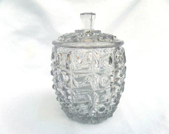 """Clear Pressed Glass Biscuit Jar, 1930's Libochovice Czechoslovakia, Art Deco Geometric Shapes, Glass Lenses, 7.5"""" x 5"""", Immaculate Condition"""