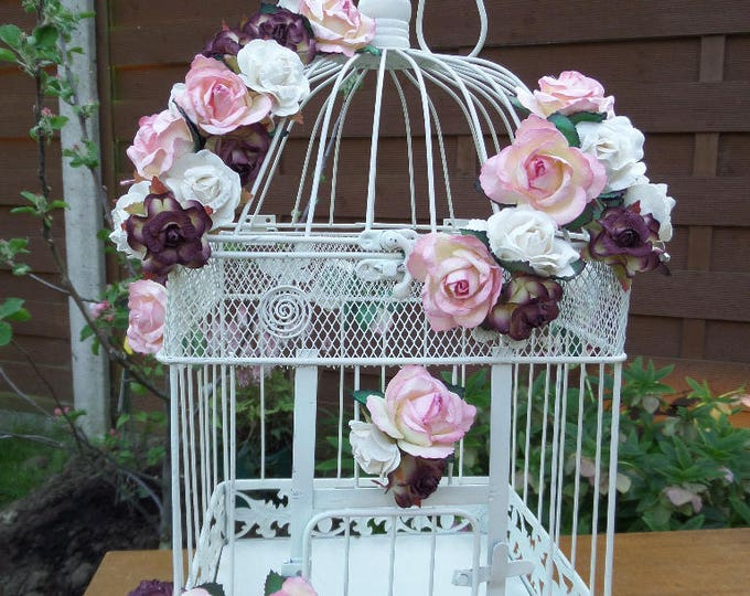 """Wedding Birdcage, Reception Card Holder, Suitable for Wishes & Advice, Holds 200, Pink, White, Burgundy, Ivory Paper Flowers, 17.5"""" x 9.5"""""""