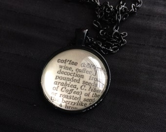 COFFEE - Dictionary Word Necklace