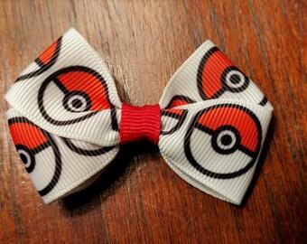 Mini Pokeball hair bow