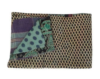 Vintage Patchwork Kantha Quilt Reversible Twin Size Handmade Throw