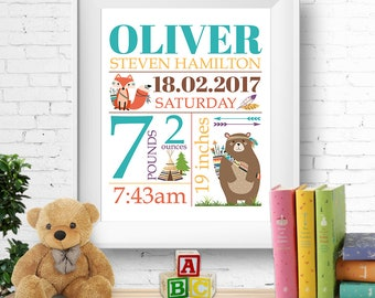 Birth stats print, wall art, birth announcement print, personalised, customised, tribal, bear, fox, boy, digital
