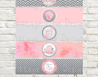 Printable Baptism Water Bottle Labels - Pink and Gray- LDS Baptism, Party, CTR, 8, Child of God - Instant Download - Can Customize