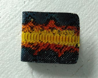 Free shipping . Genuine Python leather wallet. Handmade leather wallet. Multicolor